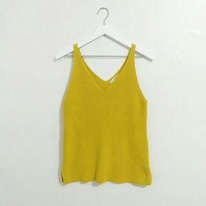 LOFT Mustard Yellow Knit Sweater Tank Top